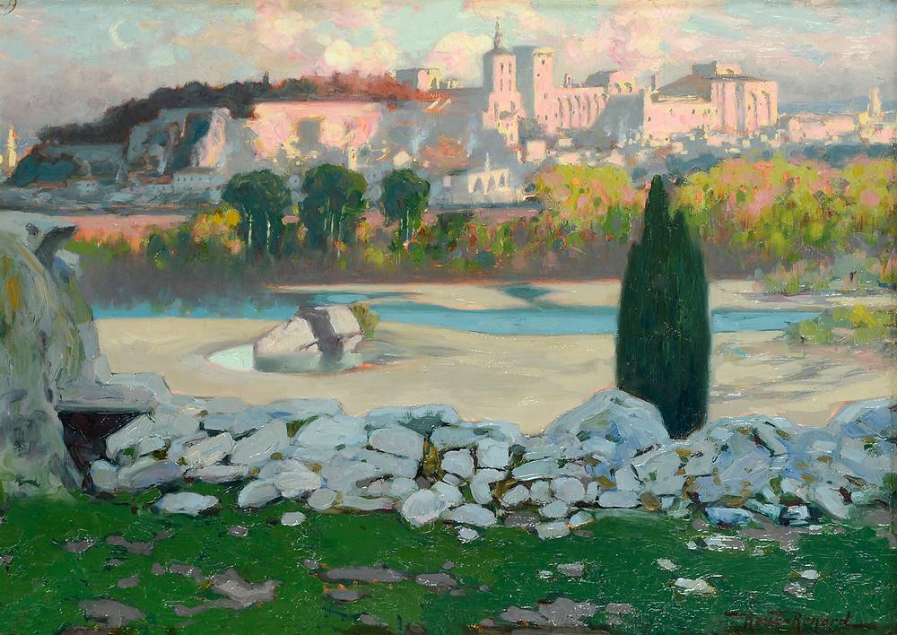 Peinture Marius ROUX-RENARD (Orange 1870-Avignon 1936) Panorama d'Avignon depuis l'atelier de l'artiste  Huile sur toile signée en bas à droite Dimensions 33 x 46 cm