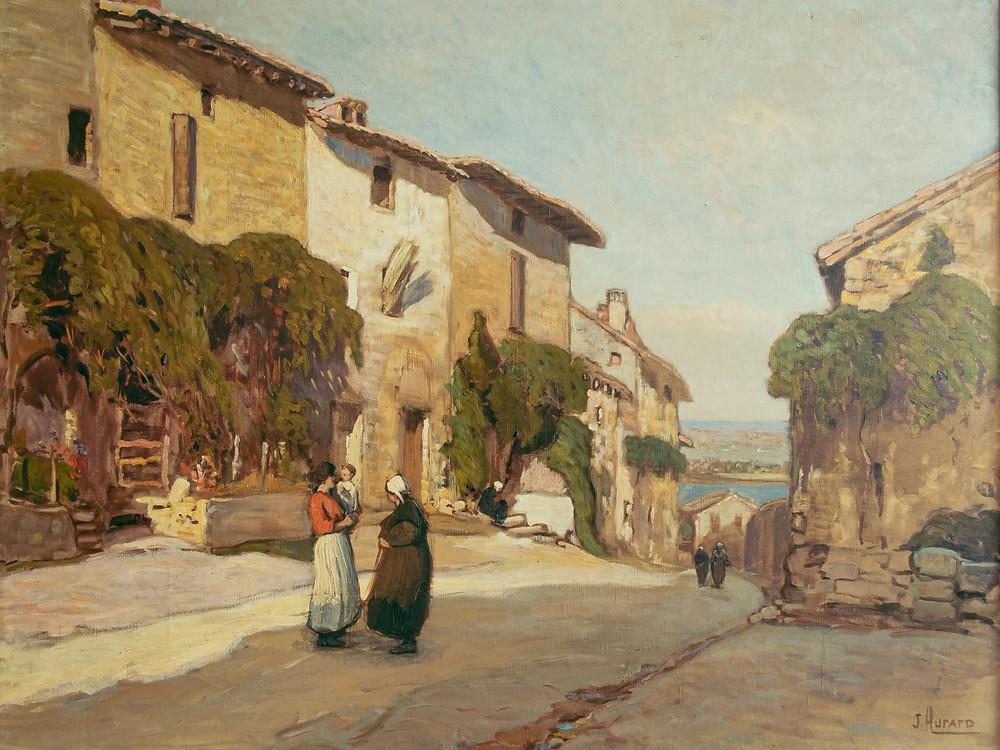 Joseph HURARD (Avignon 1887-Martigues 1956) La rue des Peintres à Villeneuve lez Avignon Huile sur toile signée