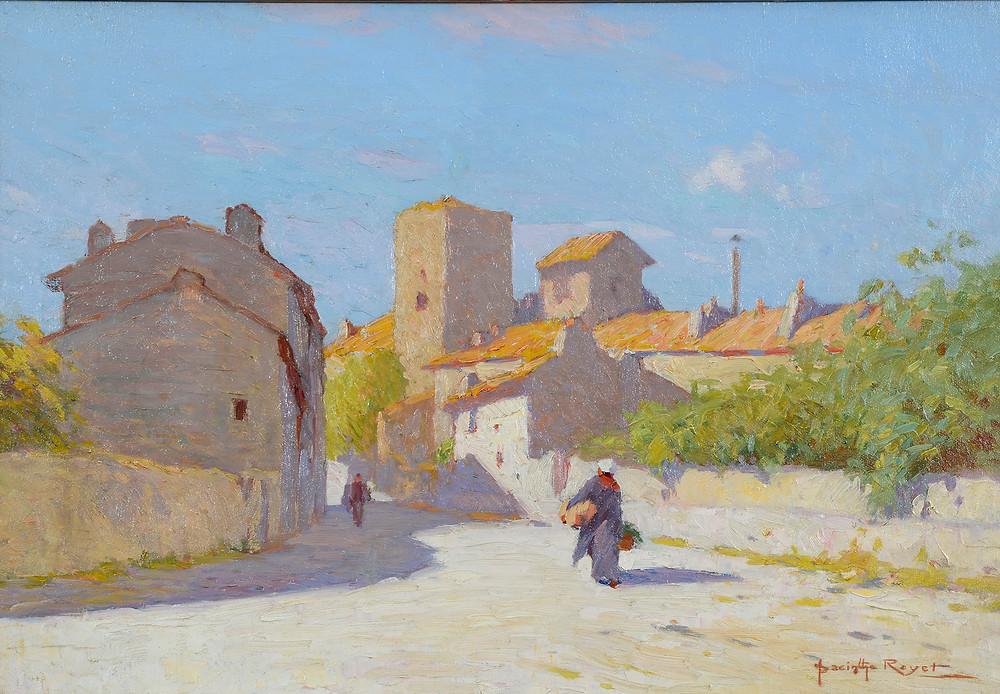 Peinture Hyacinthe ROYET (Avignon 1862-Avignon 1926)  L'Entrée de Villeneuve-Lès-Avignon  Huile sur toile signée en bas à droite Dimensions 38 x 55 cm