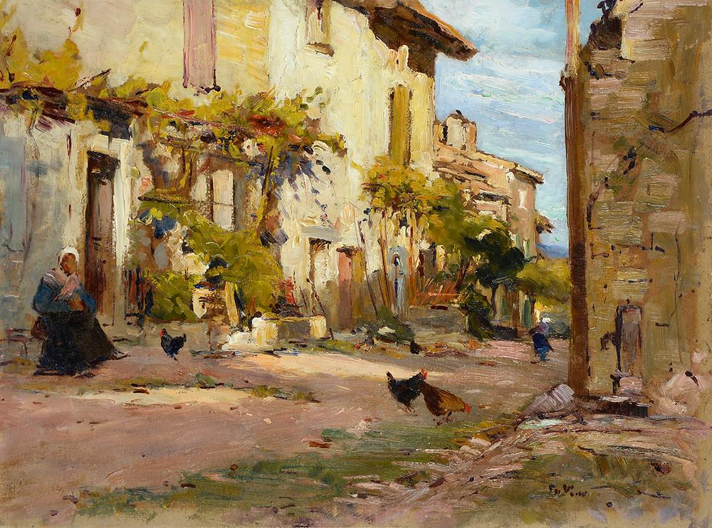 Peinture Charles VIONNET (Avignon 1858-Avignon 1923) La rue des peintres à Villeneuve  Huile sur carton signé en bas à droite Dimensions 34,5 x 46 cm