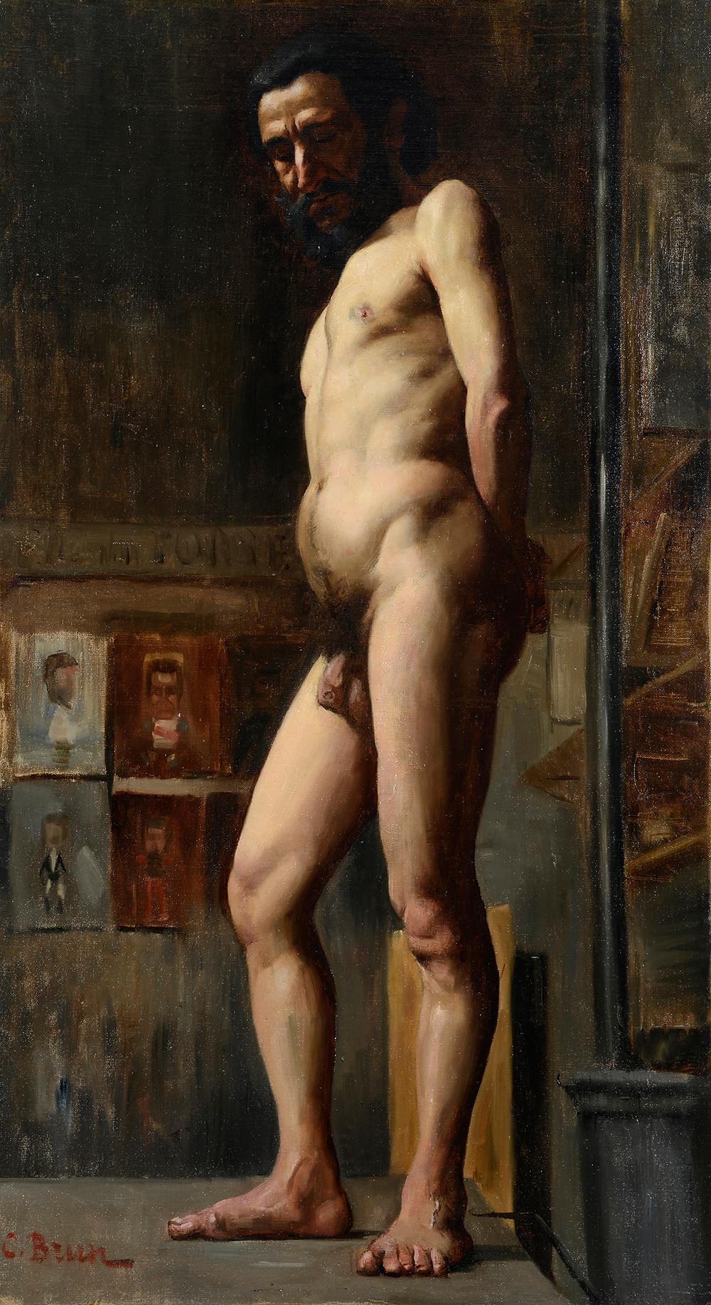 Peinture Clément BRUN (Avignon 1865-Avignon 1920) Étude d'homme nu aux Beaux-Arts  Huile sur carton signé en bas à gauche. Collection Hortense Bourgue Dimensions 81 x 46 cm