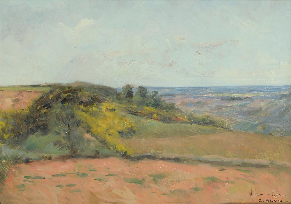 Peinture Clément BRUN (Avignon 1865-Avignon 1920) Paysage gardois  Huile sur toile signée et dédicacée « A l'ami Réau » en bas à droite Dimensions 29 x 41 cm