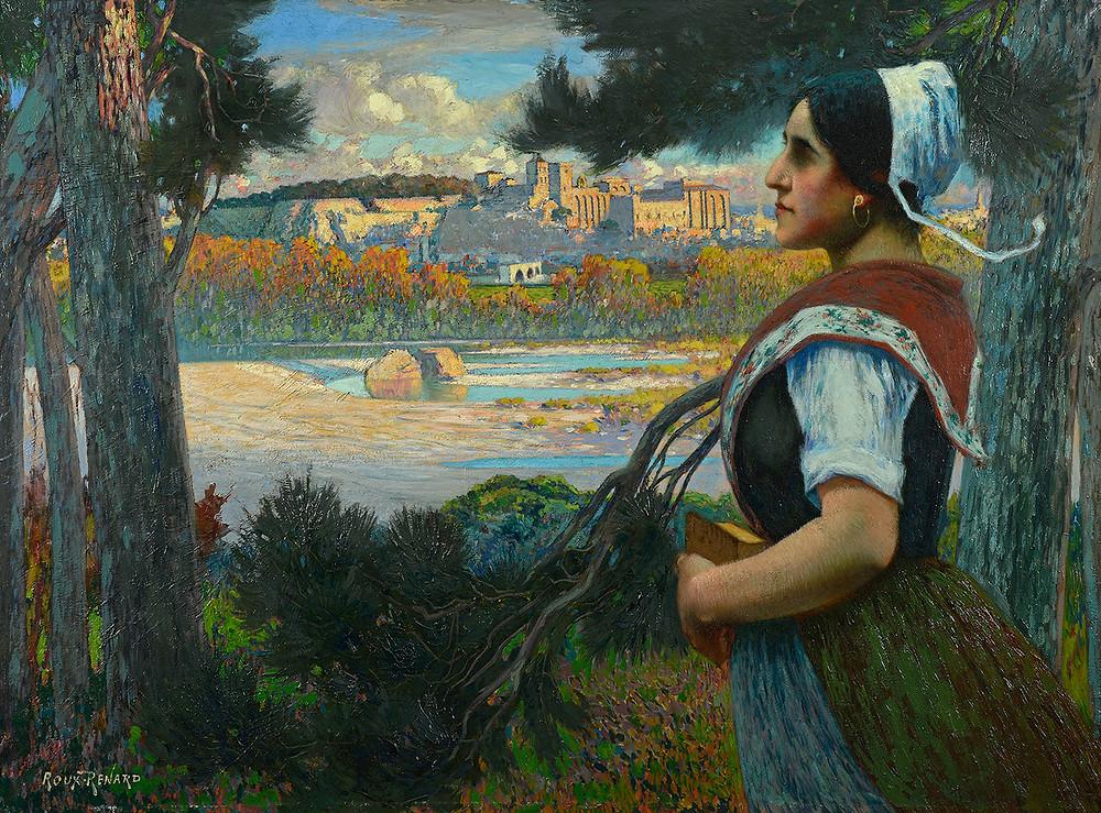 Peinture Marius ROUX-RENARD (Orange 1870-Avignon 1936) L'Avignounenco  Huile sur toile signée en bas à gauche Dimensions 97 x 130 cm