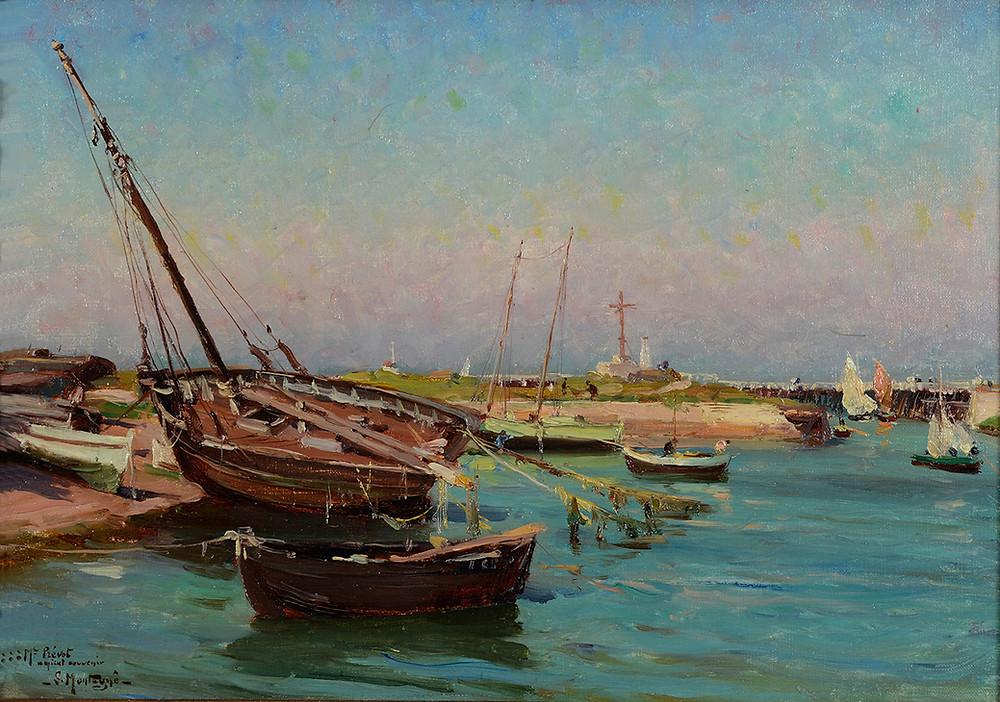 Peinture Louis Montagné Port de Courseulles Marine
