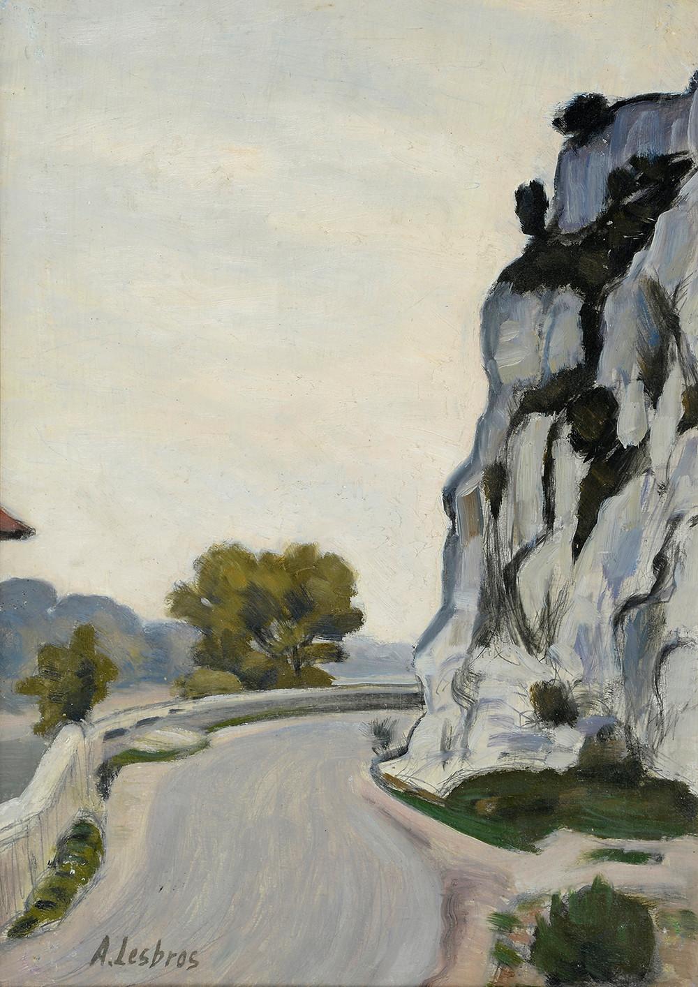 Peinture Alfred LESBROS (Avignon 1873-Avignon 1940)  Le rocher de la Justice Huile sur carton signé