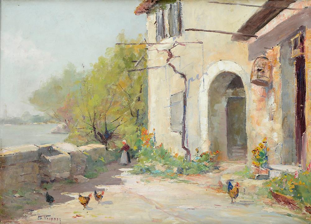 Peinture Charles Vionnet Moulin Villeneuve lez Avignon