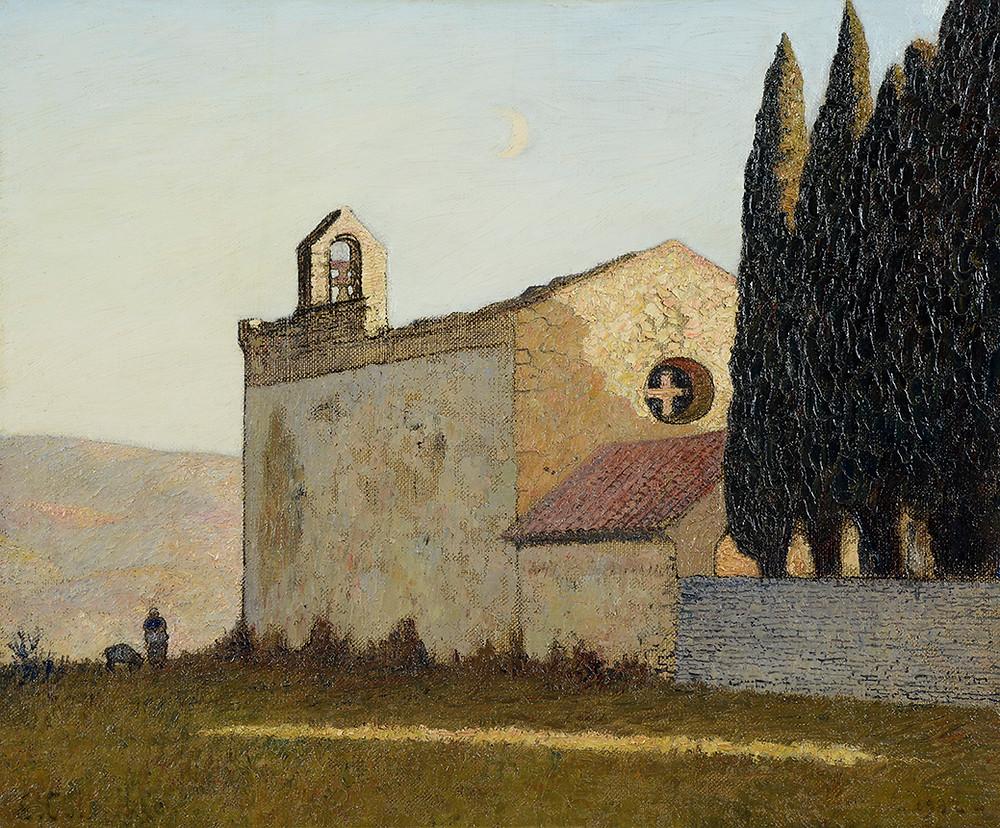 Peinture Léon COLOMBIER (Paris 1869-Cavaillon 1960) La Chapelle Saint-Jacques à Cavaillon, 1932  Huile sur toile signée en bas à gauche et datée en bas à droite Dimensions 54 x 65 cm