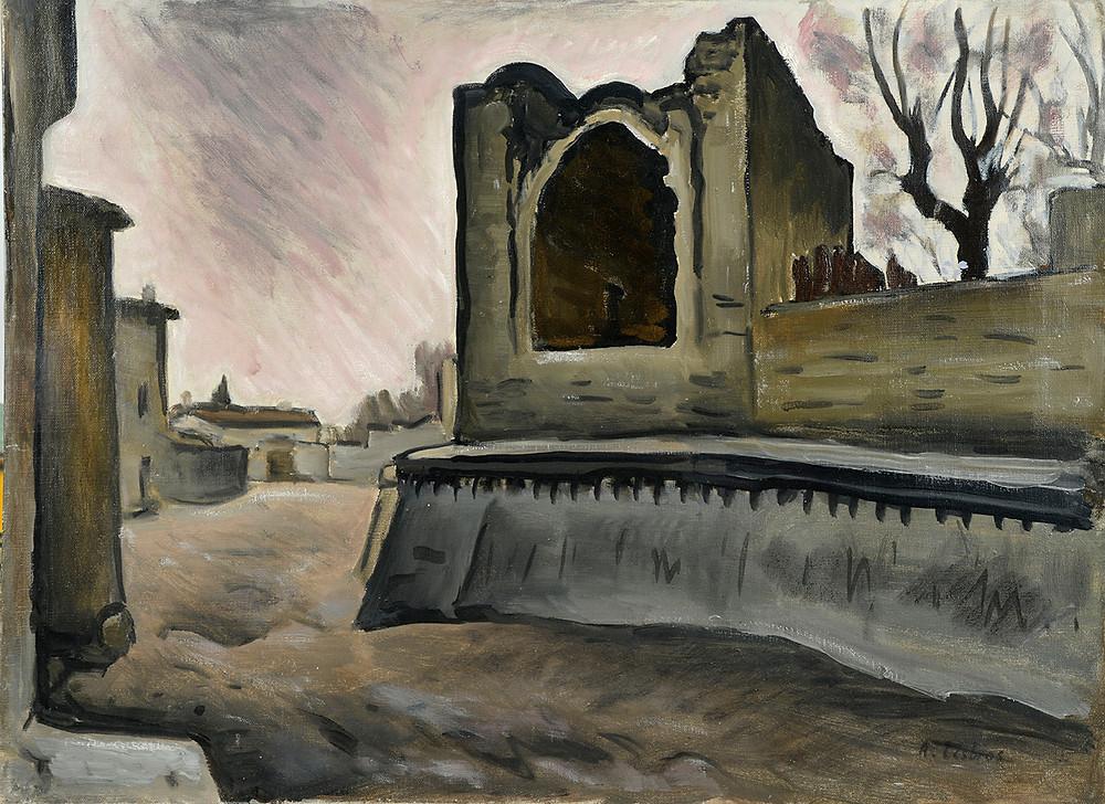 Peinture Alfred LESBROS (Avignon 1873-Avignon 1940) Porte Saint-Dominique à Avignon  Huile sur toile signée en bas à gauche Dimensions 54 x 73 cm