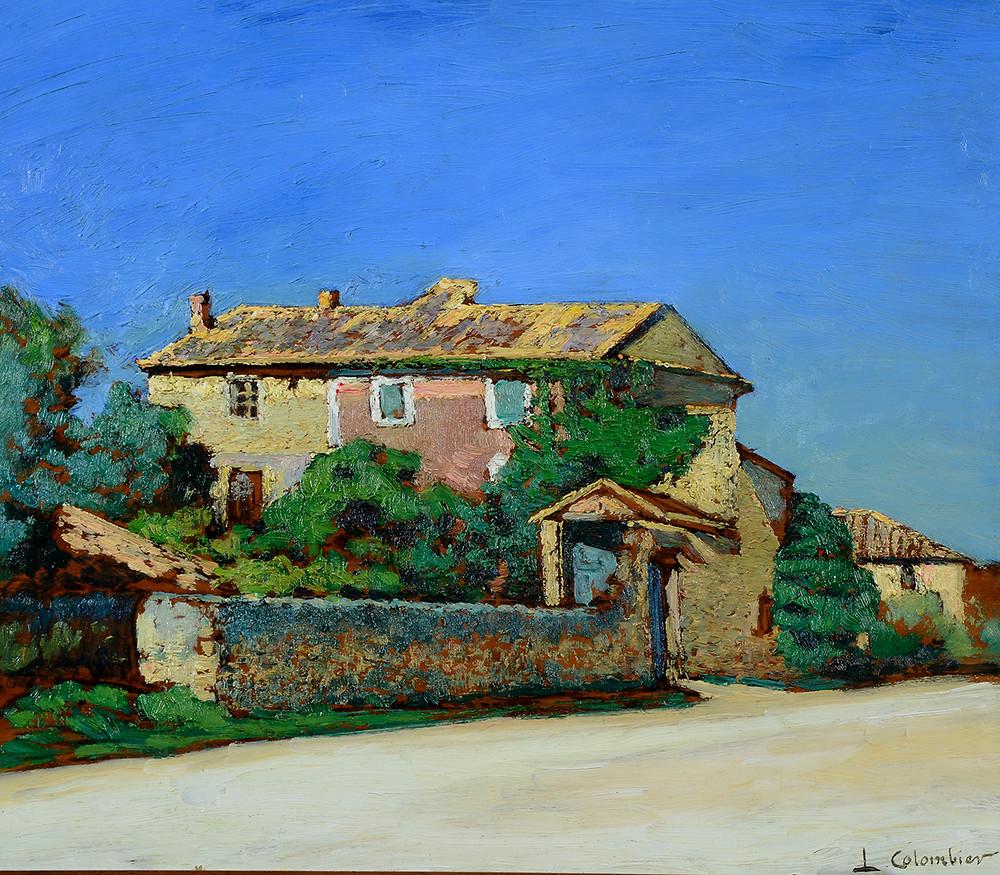 Peinture Léon COLOMBIER (Paris 1869-Cavaillon 1960) La Bastide  Huile sur panneau signé en bas à droite Dimensions 38 x 46 cm