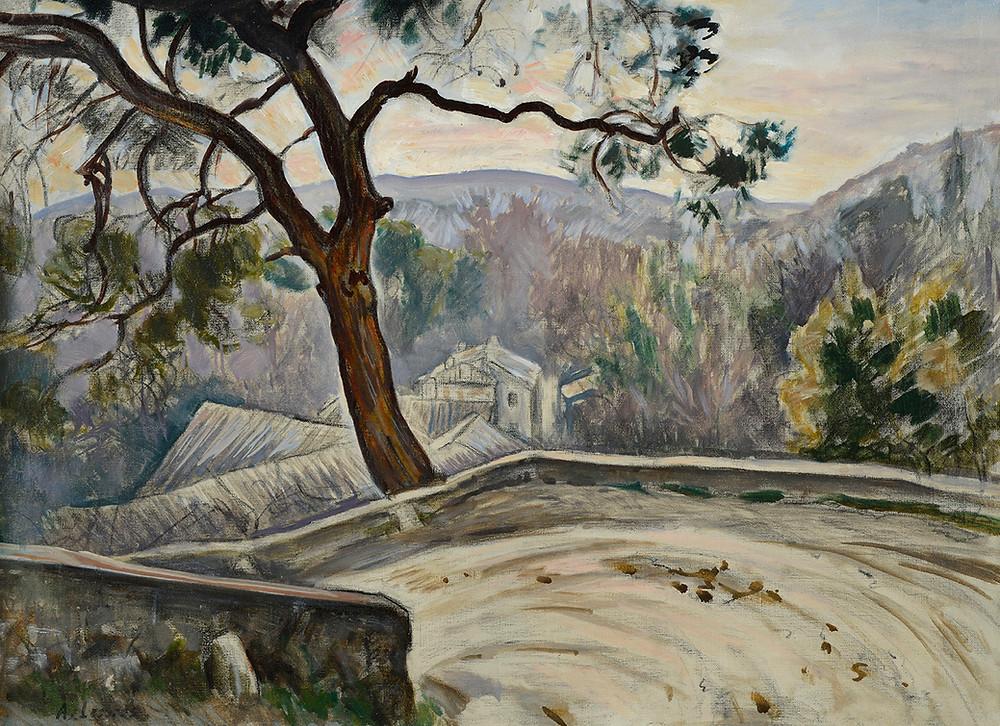 Peinture Alfred LESBROS Route du Lavoir Les Angles