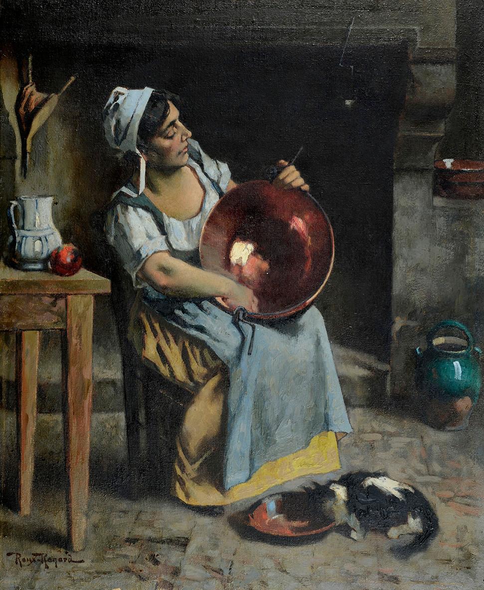 Peinture Marius ROUX-RENARD (Orange 1870-Avignon 1936) Comtadine au cuivre  Huile sur toile signée en bas à gauche Dimensions 73 x 60 cm