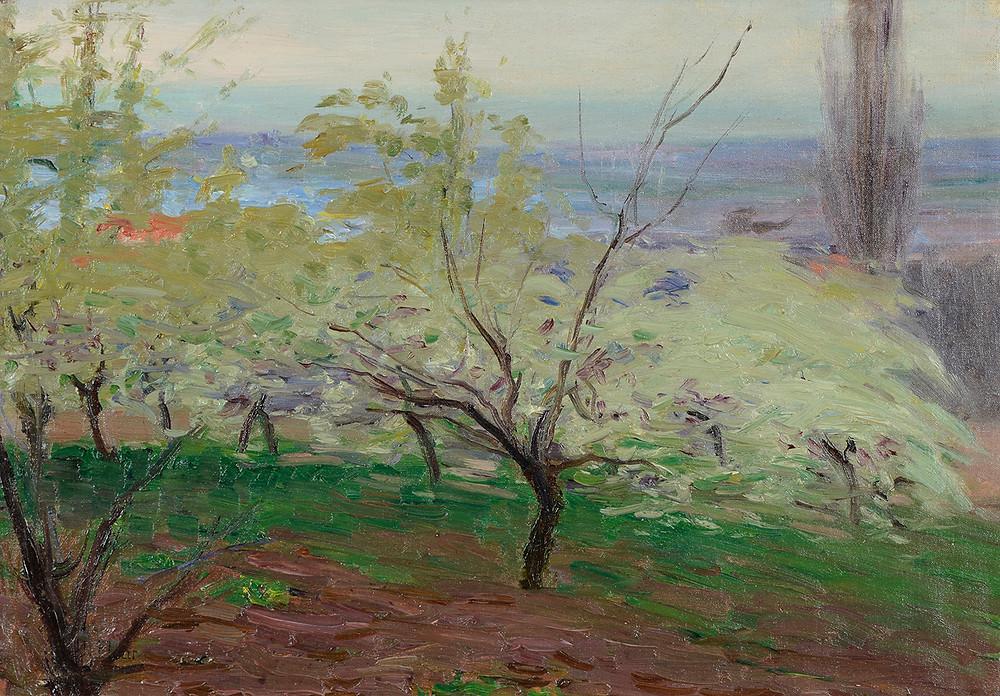 Peinture Jules FLOUR (Avignon 1864-Avignon 1921)  Les arbres fruitiers  Huile sur toile signée en bas à gauche Dimensions 35,5 x 50 cm