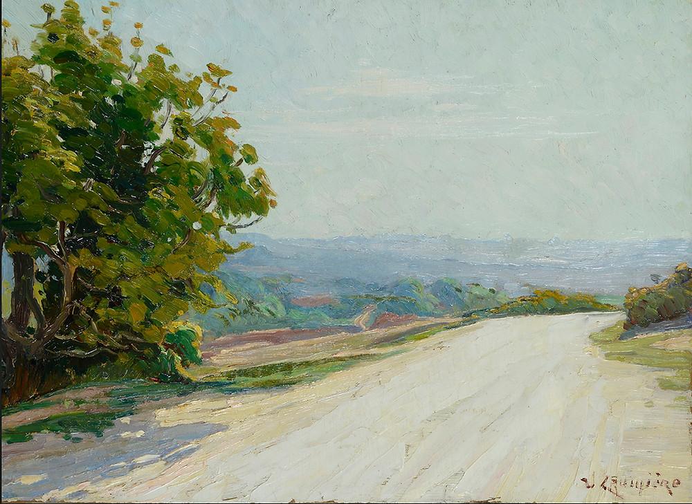 Peinture Victor CRUMIÈRE (Avignon 1895-Avignon 1950) La route blanche  Huile sur carton signé