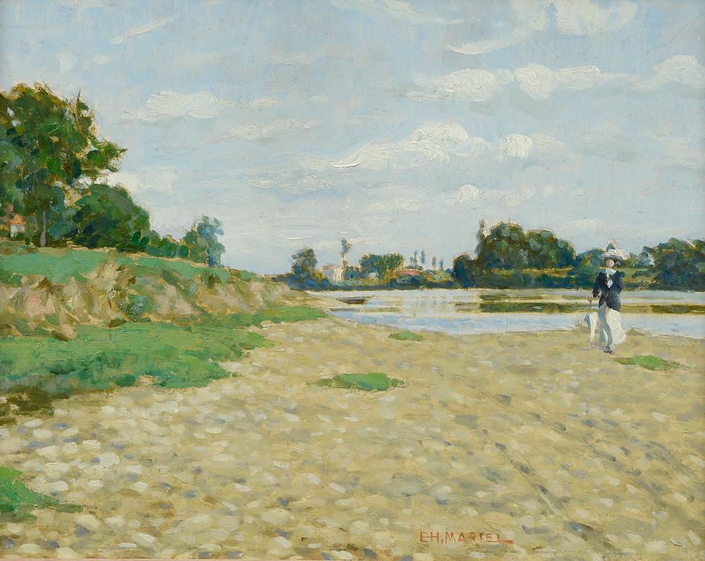 Peinture Charles MARTEL (Argentan 1869-Avignon 1922) Élégante au bord d'une rivière en Normandie  Huile sur carton signé en bas à droite Dimensions 26 x 33 cm