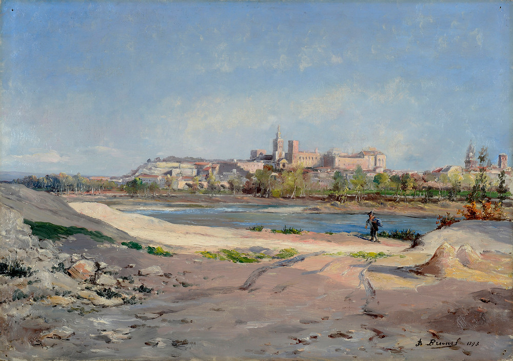 Peinture Jean-Baptiste BRUNEL (Avignon 1850-Avignon 1919) Panorama d'Avignon depuis Villeneuve 1893  Huile sur toile signée et datée en bas à droite Dimensions 46 x 65 cm