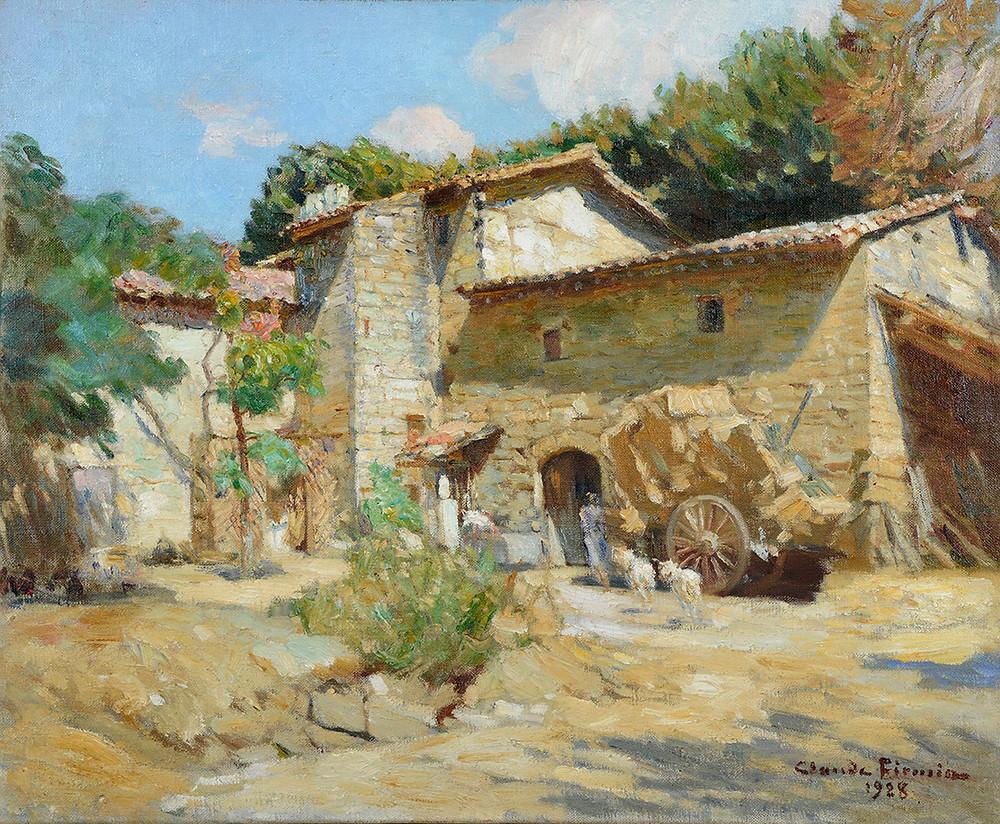 Peinture Claude FIRMIN (Avignon 1864-Avignon 1944)  La ferme à Avignon, 19  Huile sur toile signée et datée en bas à gauche Dimensions 50 x 61 cm