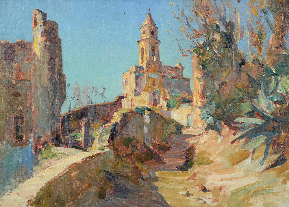 Peinture Louis MONTAGNÉ (Avignon 1879-Paris 1960) Village dans le sud de l'Espagne  Huile sur toile non signée Dimensions 54 x 73 cm