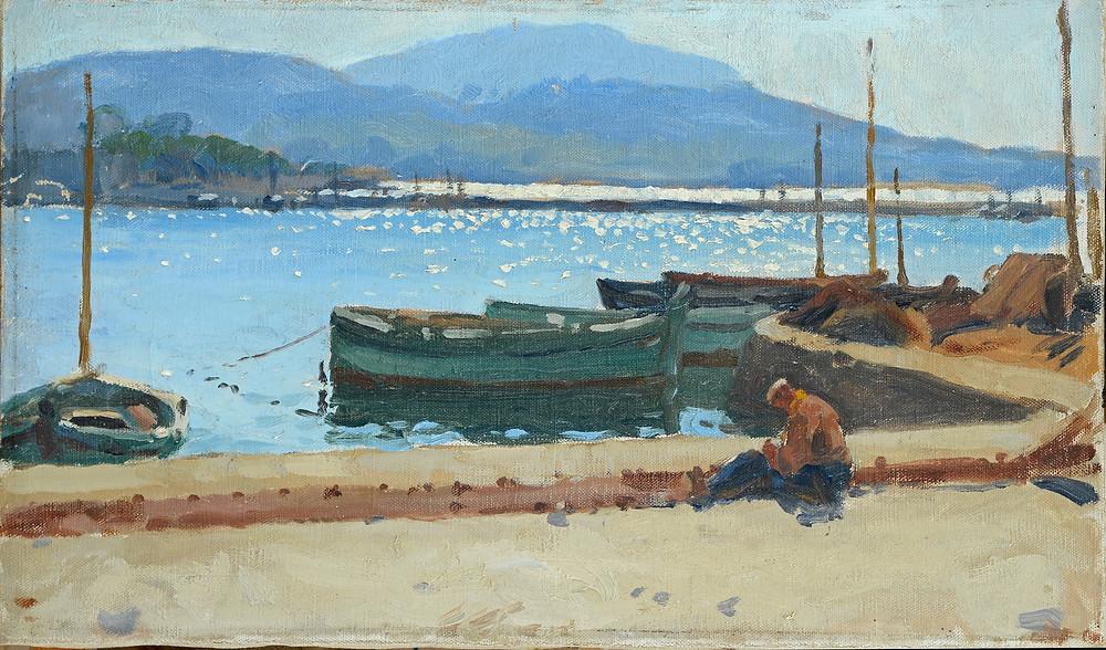 Peinture Alfred BERGIER (Avignon 1881-Manosque 1971) Le port de Sanary  Huile sur toile non signée. Collection Jane Guimety Dimensions 27 x 46 cm