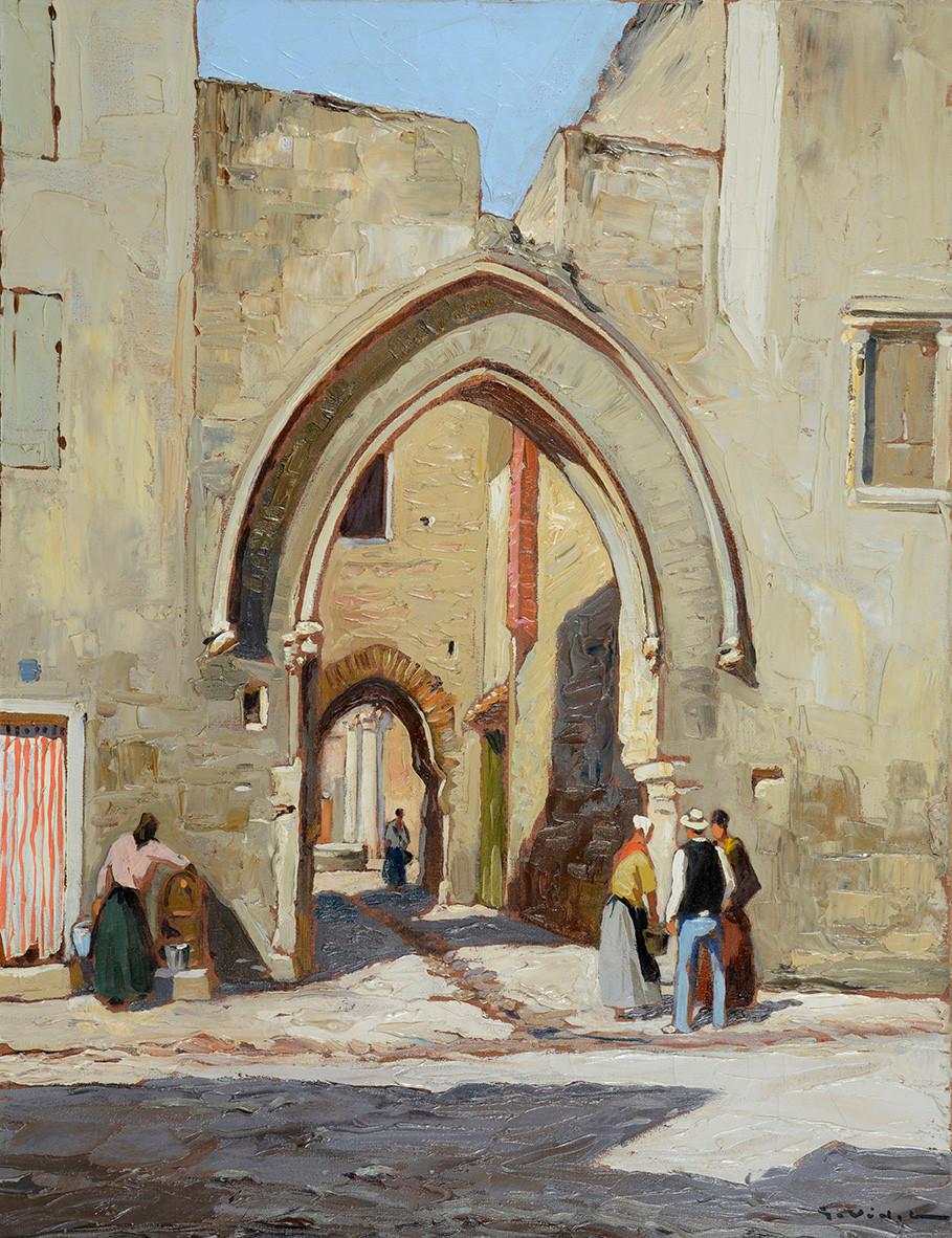 Peinture Gustave VIDAL (Avignon 1895-Avignon 1966) La Livrée du Cardinal de Thurroye à Villeneuve  Huile sur toile signée en bas à droite Dimensions 65 x 50 cm