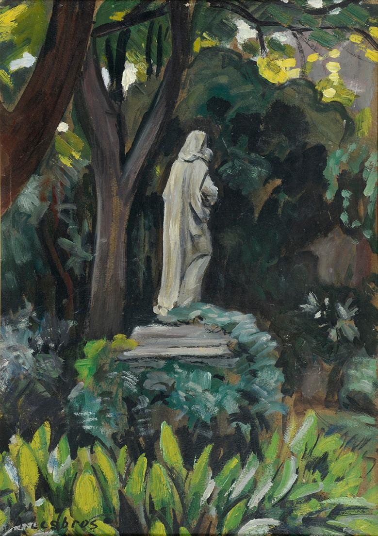 Alfred LESBROS La Vierge vue de dos Huile sur carton signé