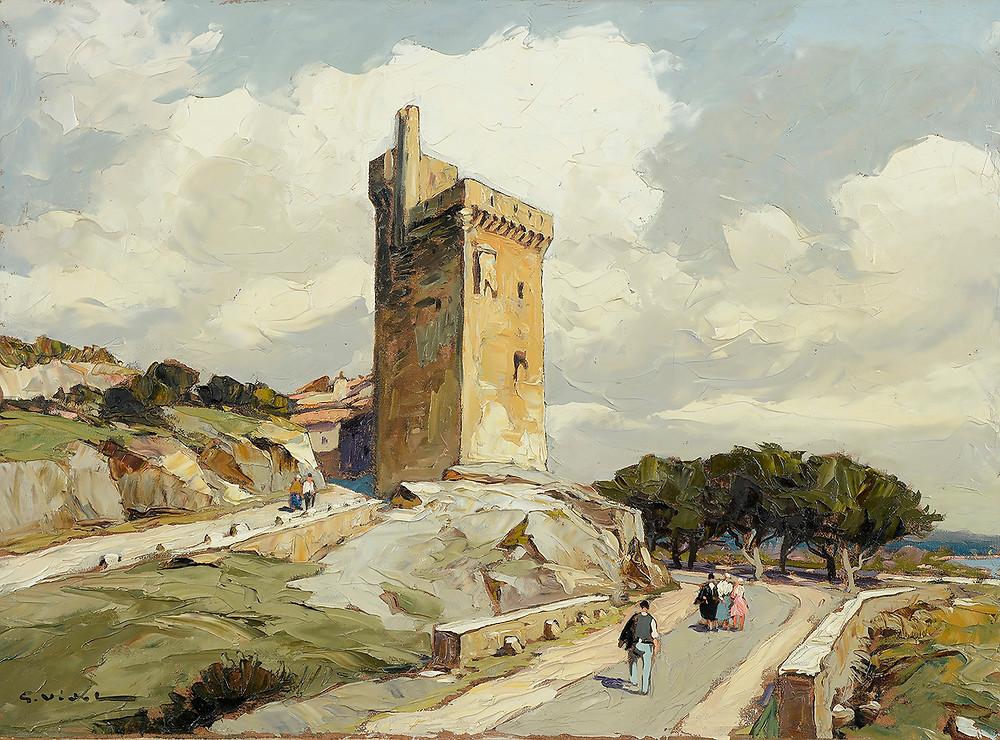 Peinture Gustave VIDAL (Avignon 1895-Avignon 1966) La Tour Philippe Le Bel à Villeneuve  Huile sur toile signée en bas à gauche Dimensions 54 x 73 cm