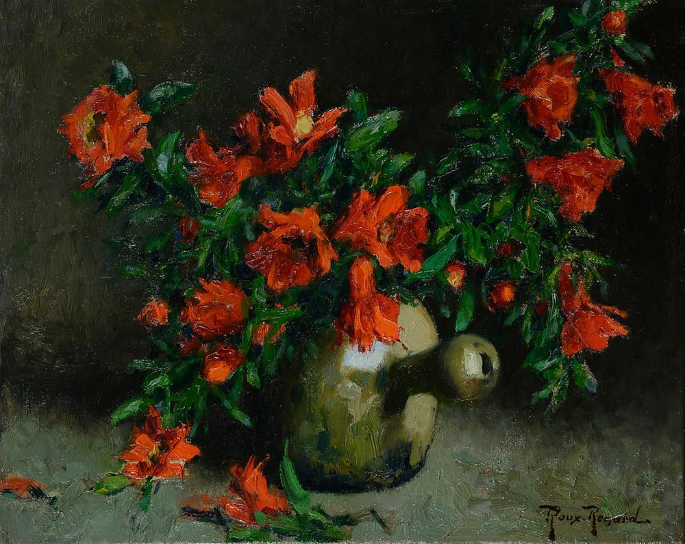 Peinture Marius ROUX-RENARD (Orange 1870-Avignon 1936)  Bouquet de fleurs de grenade  Huile sur toile signée en bas à droite Dimensions 33 x 41 cm
