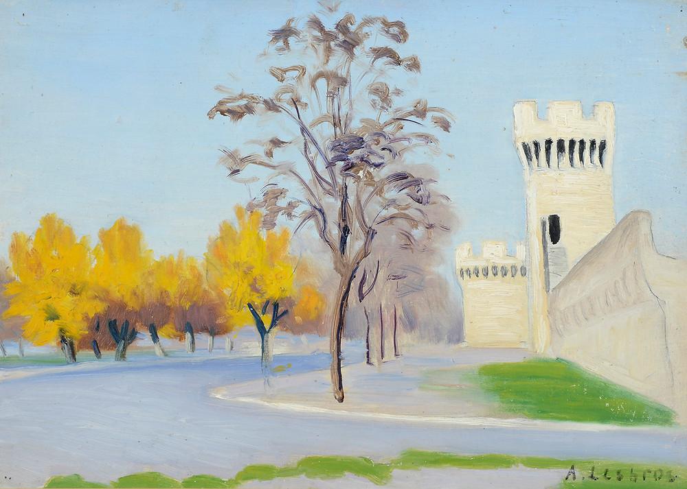 Peinture Alfred LESBROS (Avignon 1873-Avignon 1940) Les Remparts d'Avignon à l'automne  Huile sur carton signé en bas à droite Dimensions 37,5 x 53 cm
