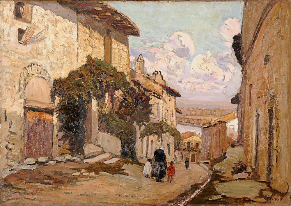 Peinture Joseph HURARD, La rue de la Monnaie à Villeneuve