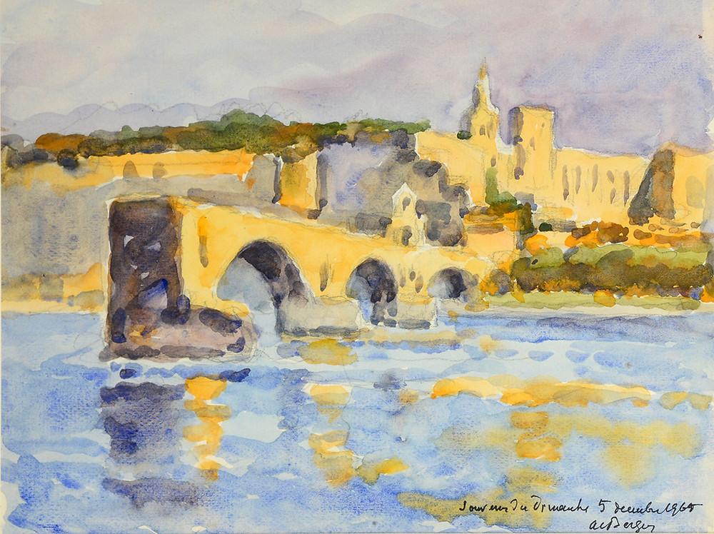 Aquarelle Alfred Bergier Pont Saint Benezet Avignon Pont d'Avignon