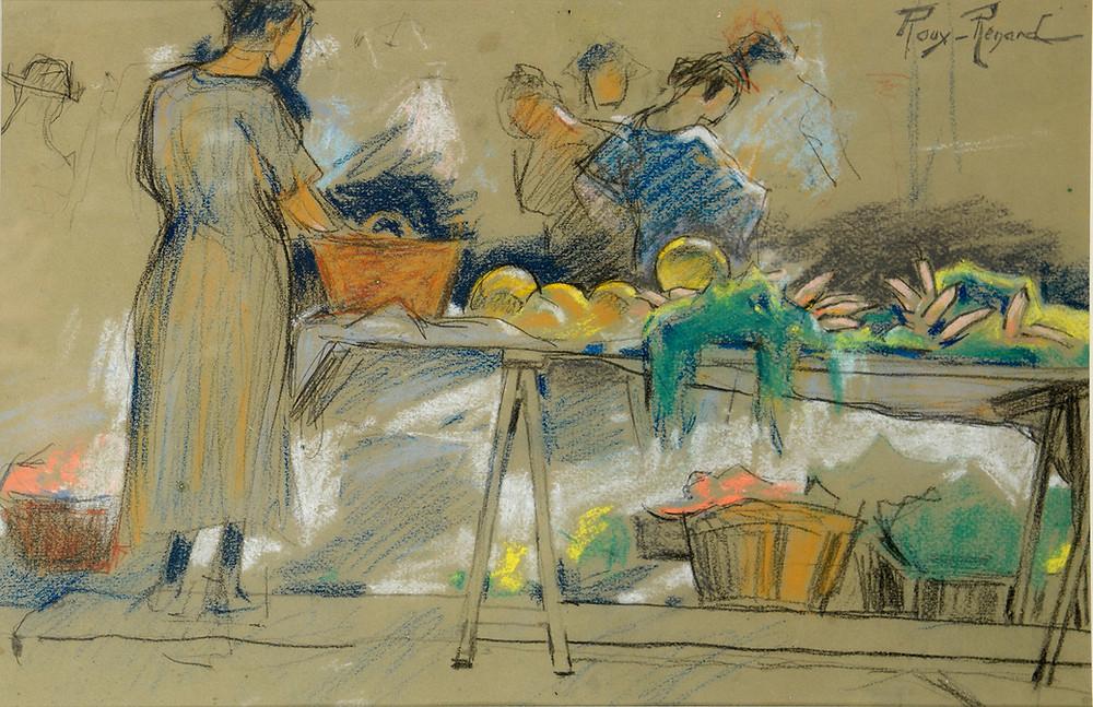 Marius Roux Renard Dessin Pastel marché Provence
