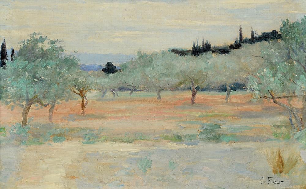 Peinture Jules FLOUR (Avignon 1864-Avignon 1921)  Le champ d'oliviers  Huile sur toile signée en bas à droite Dimensions 29 x 46,5 cm