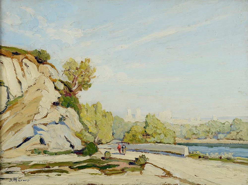 Peinture Joseph HURARD (Avignon 1887-Martigues 1956) Panorama d'Avignon depuis la route d'Aramon  Huile sur carton signé en bas à gauche Dimensions 46 x 61 cm