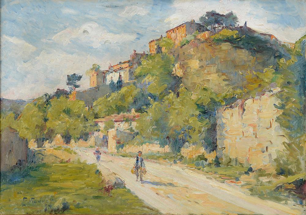 Charles VIONNET (Avignon 1858-Avignon 1923) Au bas du village Angles  Huile sur carton signé