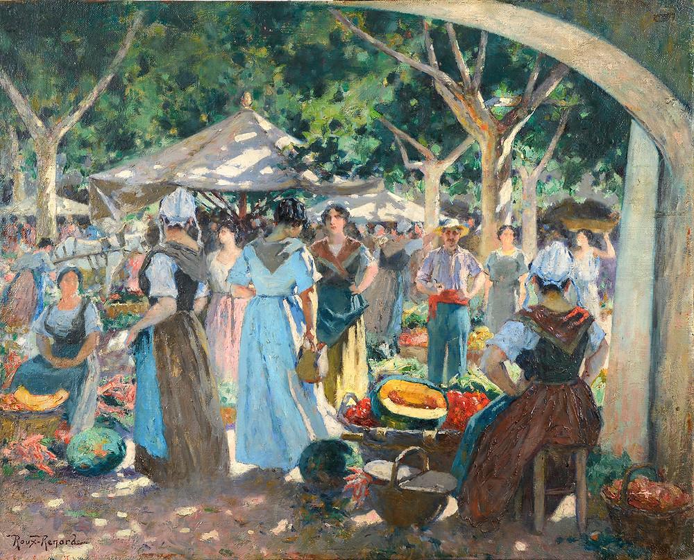 Peinture Marius ROUX-RENARD Marché place Pie Avignon Provence