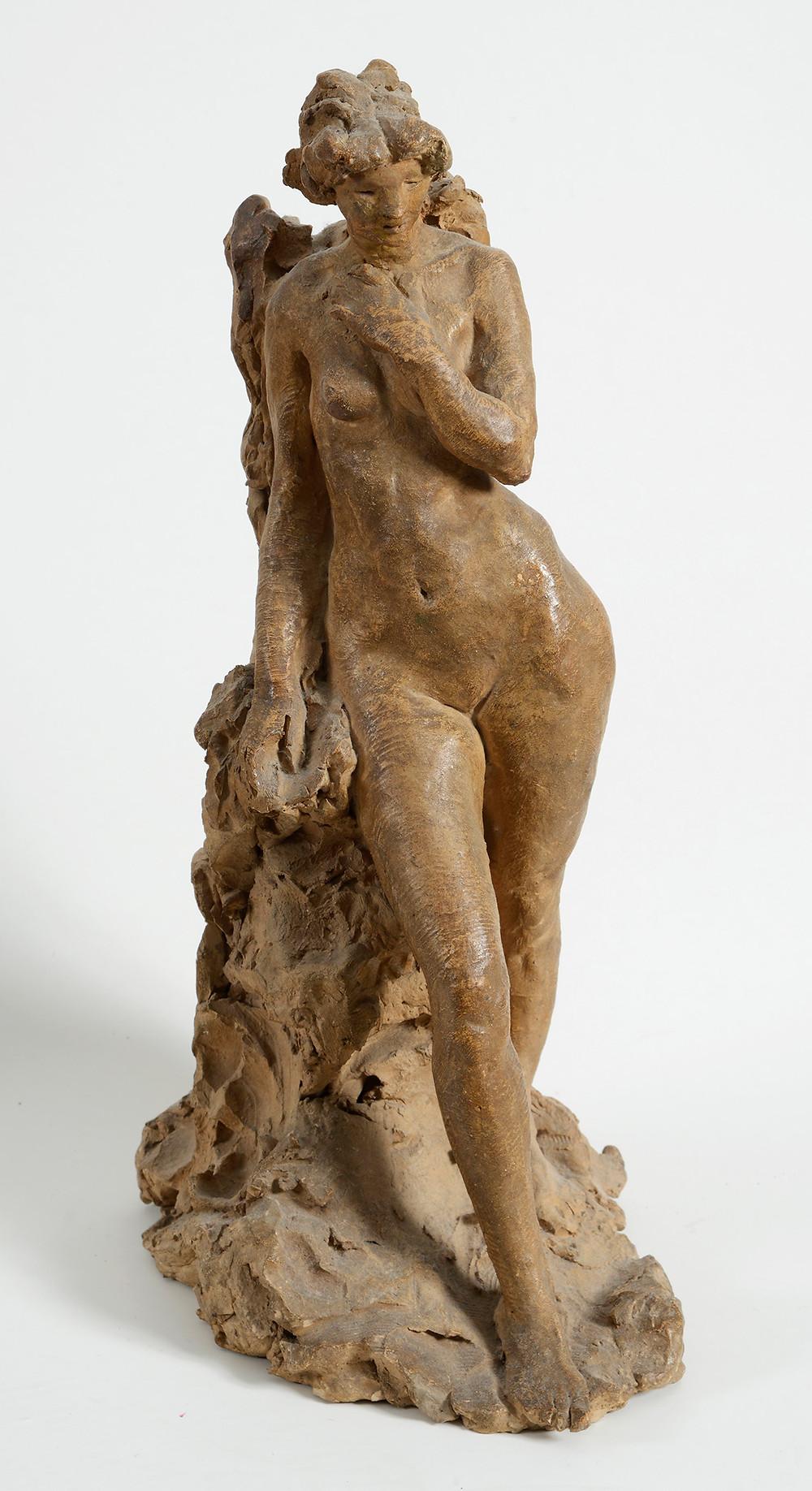 Sculpture Jean-Pierre GRAS, La  Rêverie, 1911 statuette terre cuite