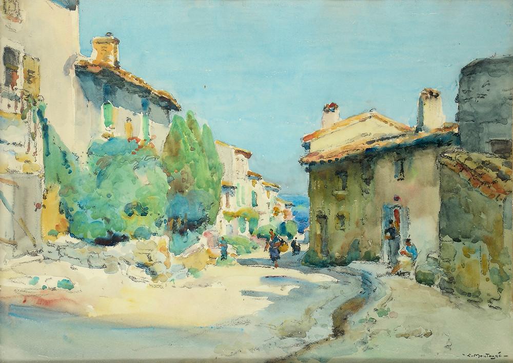 Aquarelle Louis Montagné Villeneuve lez Avignon Rue de la Monnaie