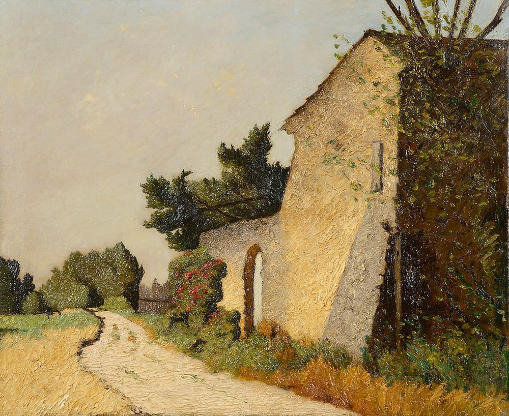 Peinture Léon COLOMBIER (Orange 1870-Avignon 1936) Le Mas de Beau à Carpentras  Huile sur toile non signée et titré sur une étiquette au dos Dimensions 54 x 65 cm