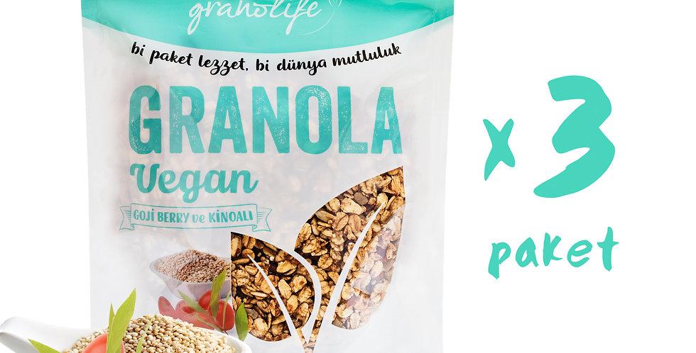 3'lü Süper Paket - Granola Vegan Mix 350g