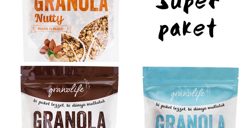 3'lü Süper Deneme Paketi - Granola Nutty Mix - Choco Mix - Fit Mix 350g