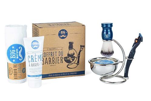 Coffret barbier (rasage/serviette/crème)