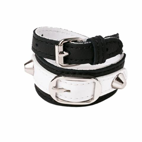 Bracelet double en cuir et métal