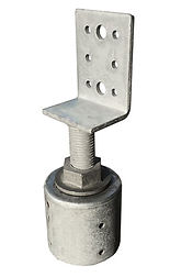 Round steel pile top connector with height adjustable verticle 'L' shaped bearer bracket