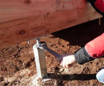 House simply re-leveled using large spanner and adjustable Levelmaster bearer bracket