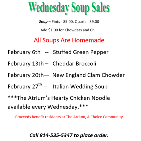 February Soup Sales at The Atrium