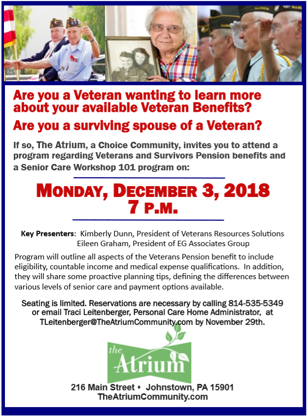 The Atrium, A Choice Community, Veterans Benefits Program