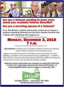 The Atrium, A Choice Community, Veterans Benefits Program