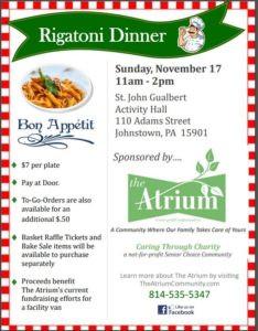 Fundraiser Rigatoni Dinner