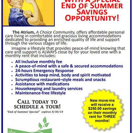 End of Summer Savings Opportunity