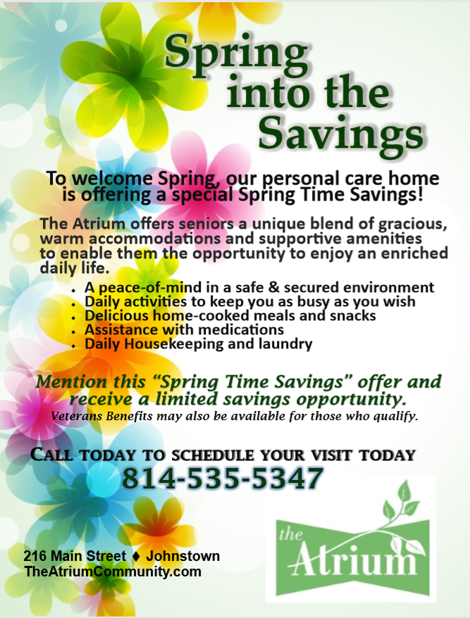 The Atrium, A Choice Community, Spring Savings