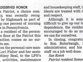 Letter To The Editor: Well Deserved Honor